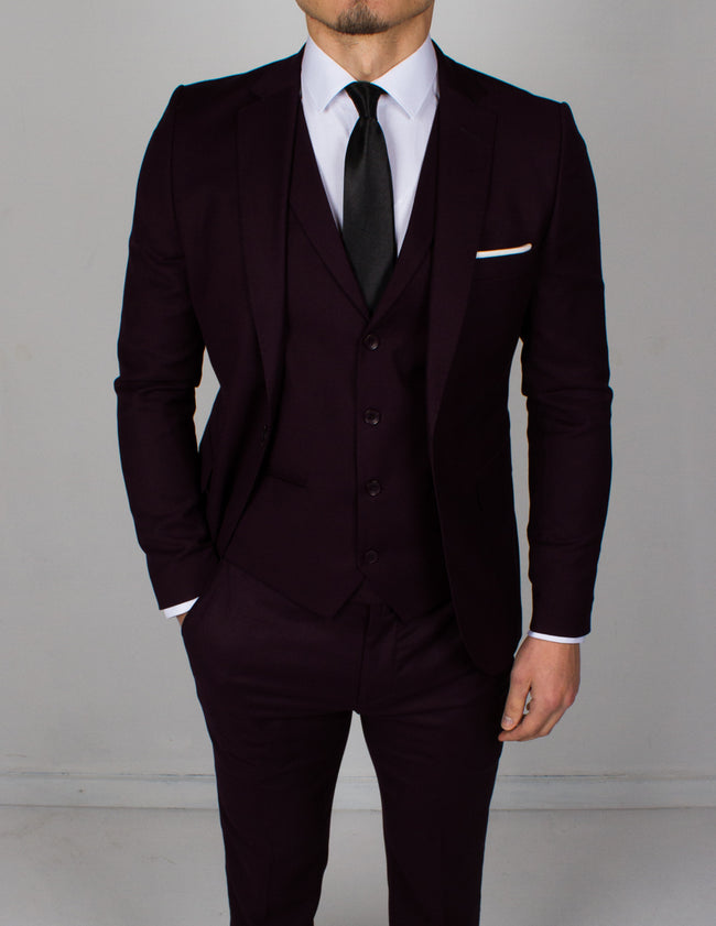 Dark Burgundy 3 Piece Suit - Gentlemen's Crate