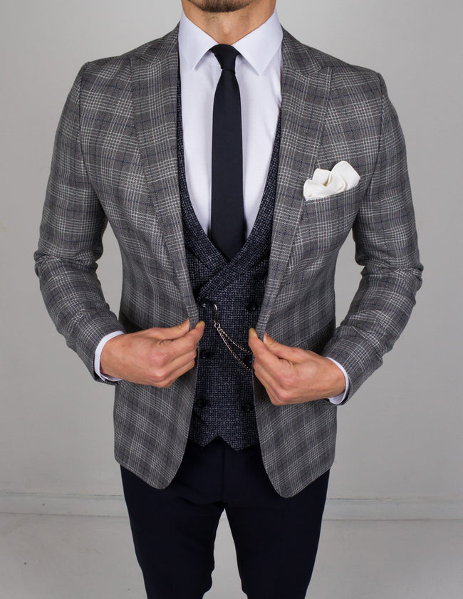 Gray Blue Plaid 3 Piece Suit - Gentlemen's Crate