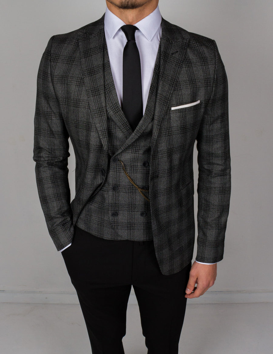 Gray Plaid 3 Piece Suit - Gentlemen's Crate