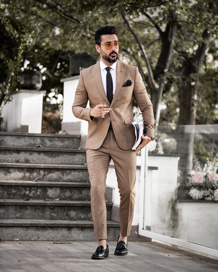 Tan 3 Piece Suit