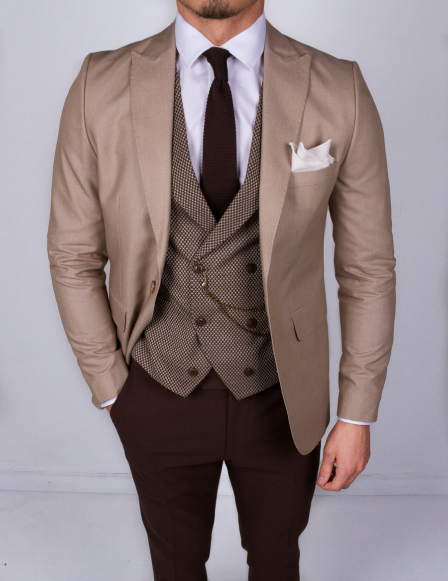 Lazio Beige 3 Piece Suit - Gentlemen's Crate