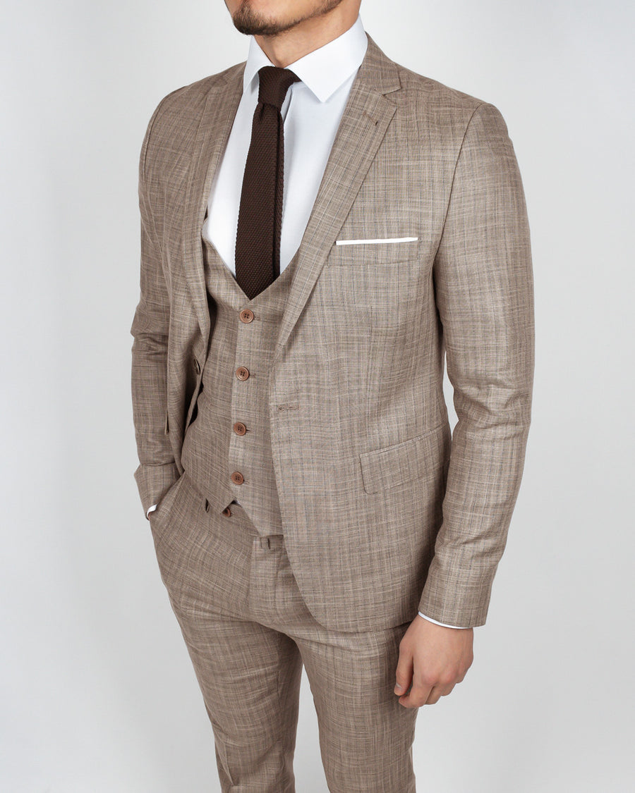 Light Brown Plaid 3 Piece Suit