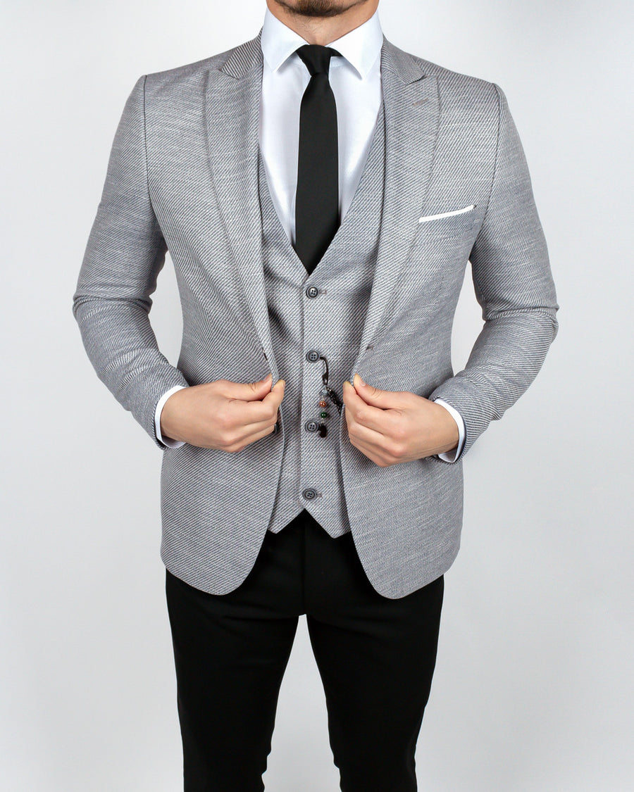Light Gray Black 3 Piece Suit