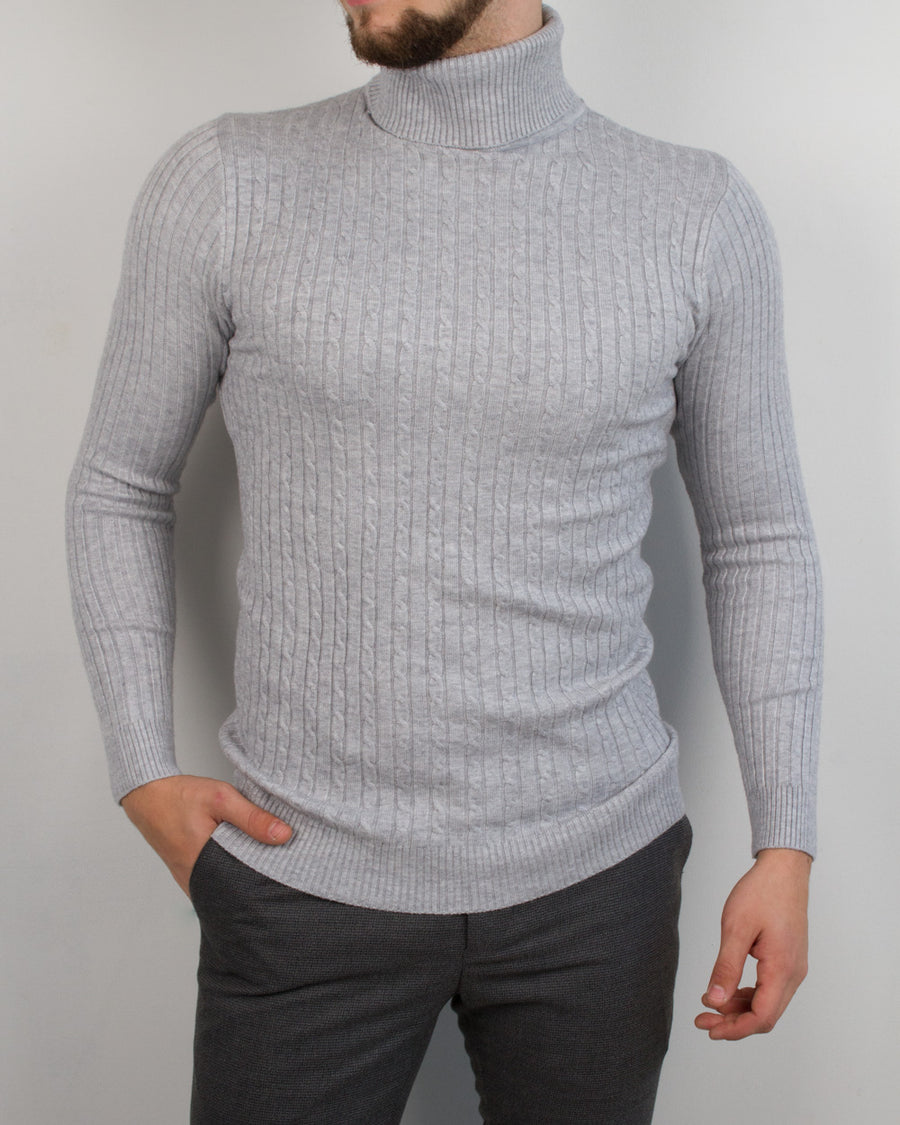 Light Grey Braided Turtleneck - Gentlemen's Crate