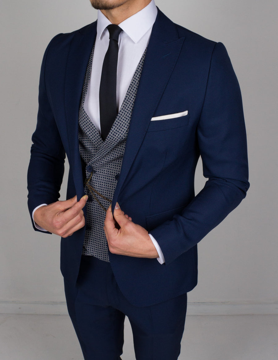 Marine Blue 3 Piece Suit - Gentlemen's Crate
