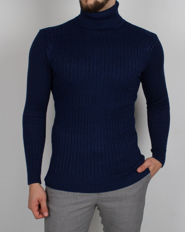 Navy Braided Turtleneck - Gentlemen's Crate