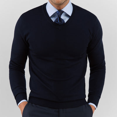 Navy V Neck Sweater - Gentlemen's Crate