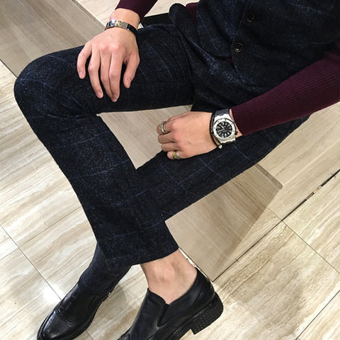 Royal Blue Plaid Trousers - Gentlemen's Crate