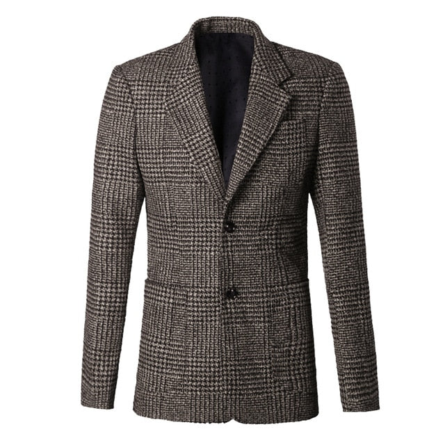 Brown Plaid Wool Blazer - Gentlemen's Crate