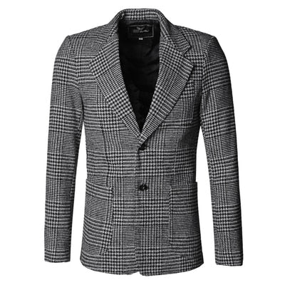 Grey Plaid Wool Blazer - Gentlemen's Crate