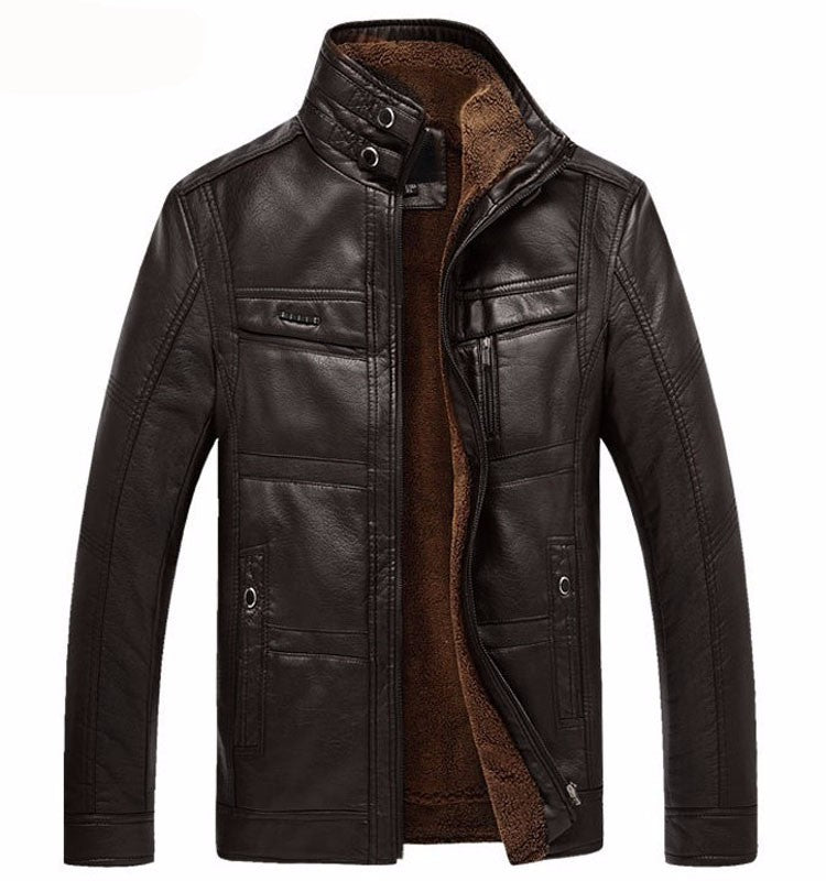 Black Coffee Faux Fur Leatrher Jacket - Gentlemen's Crate