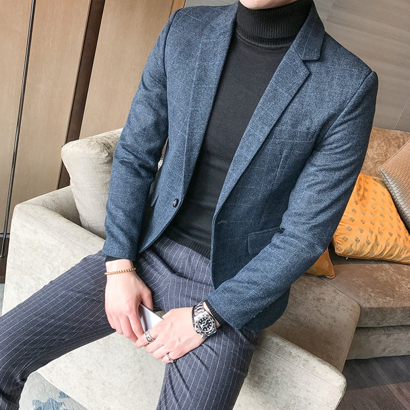Dark Blue Check Blazer - Gentlemen's Crate