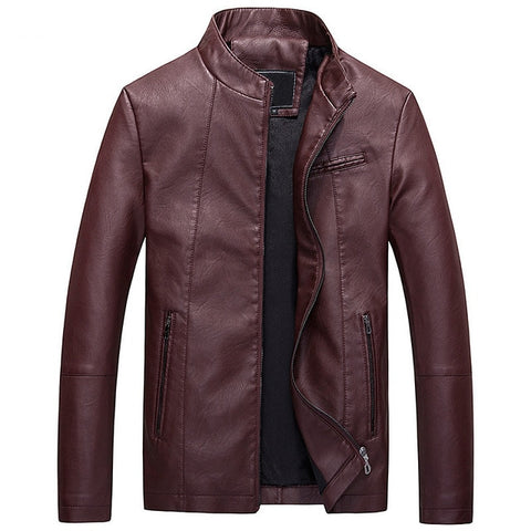 Rust Minimalistic Leather Jacket - Gentlemen's Crate