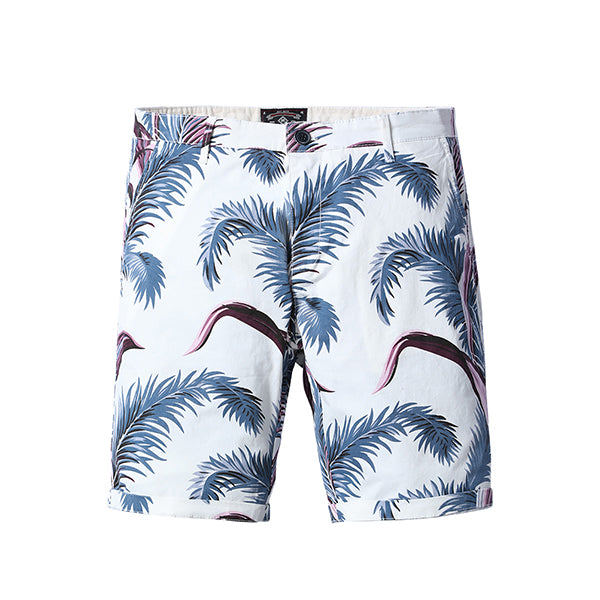 White Feather Print Shorts - Gentlemen's Crate