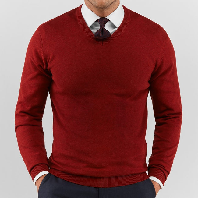 Red V Neck Sweater - Gentlemen's Crate