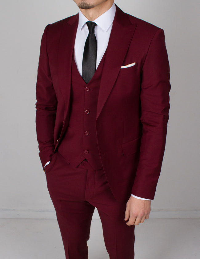Red 3 Piece Wool Suit - Gentlemen's Crate