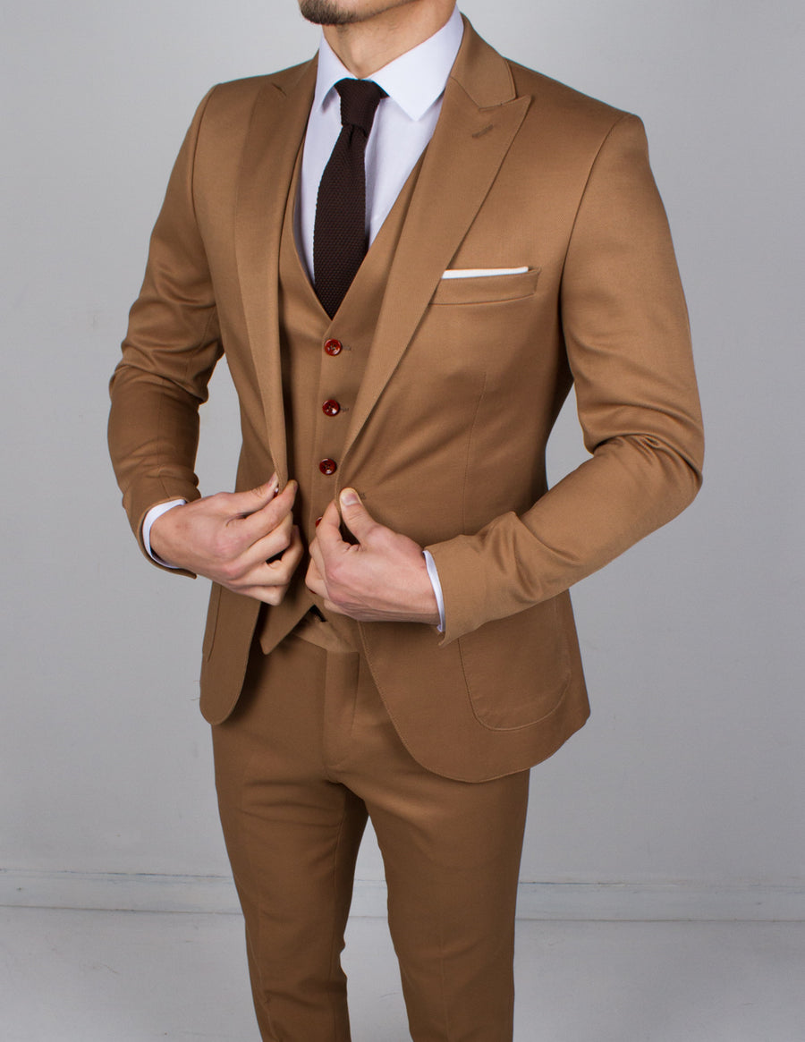Tan 3 Piece Suit - Gentlemen's Crate
