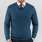 Turquoise V Neck Sweater - Gentlemen's Crate