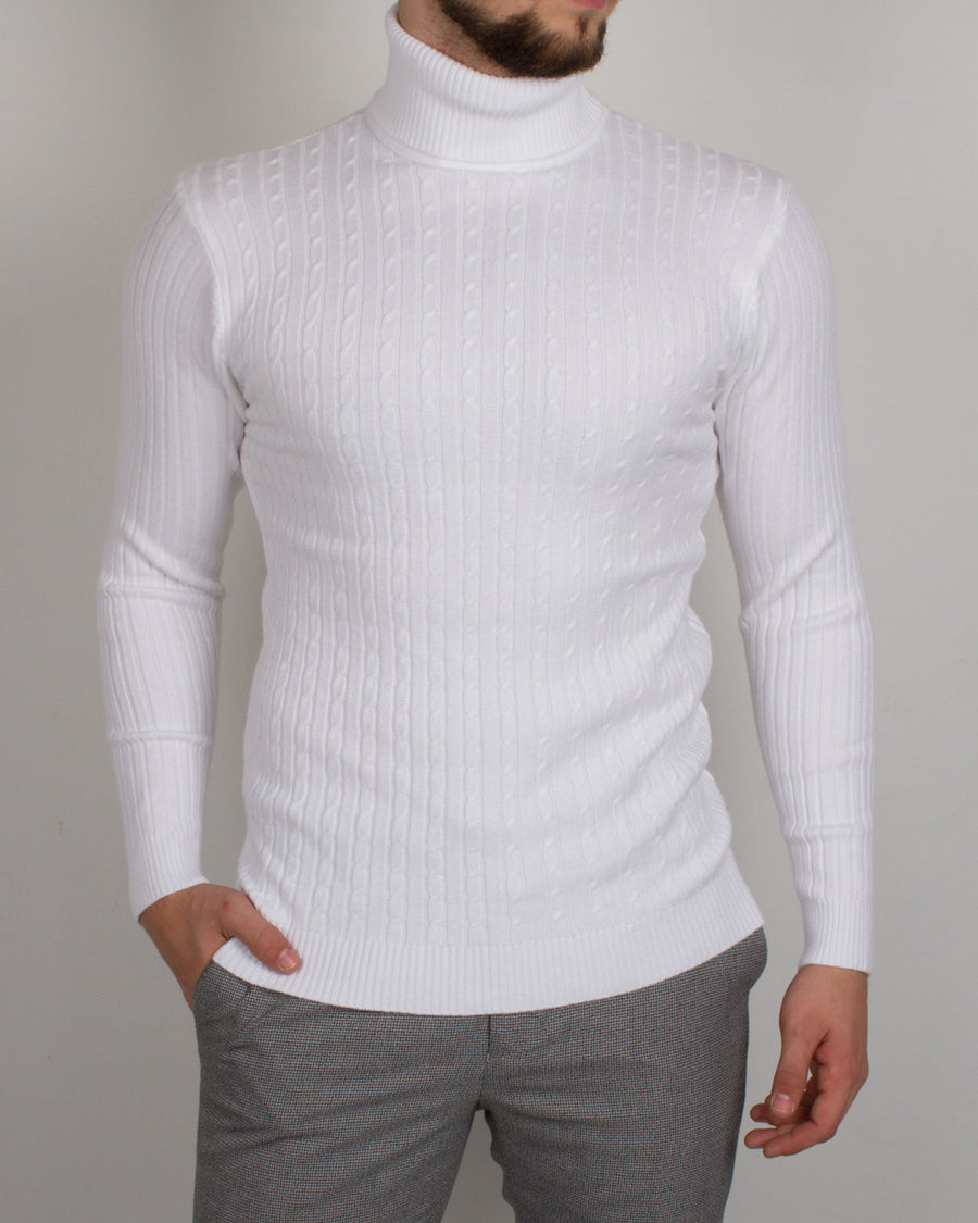 White Braided Turtleneck - Gentlemen's Crate