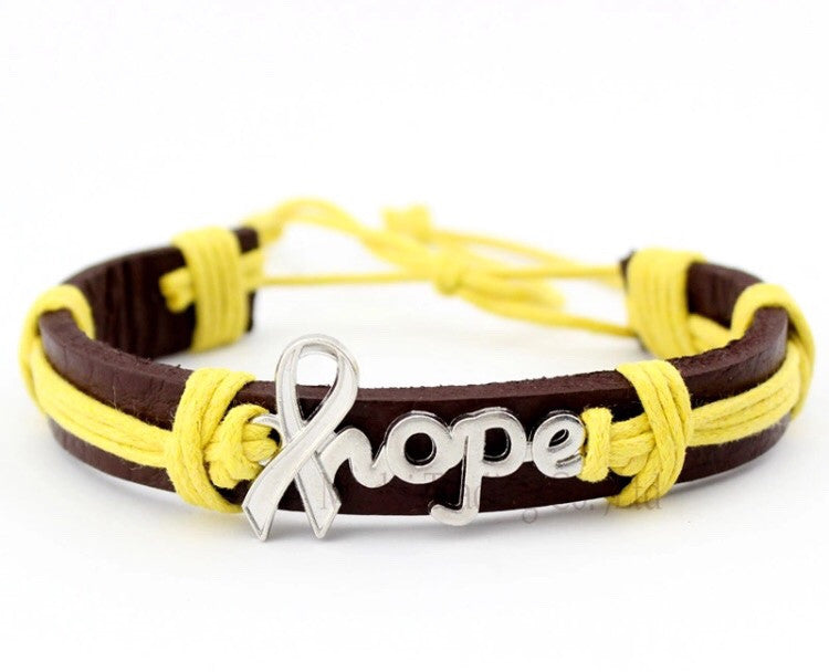 Hope Childhood Cancer Awareness Leather Cuff Bracelet 1world1love1day