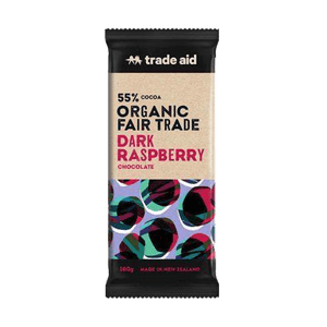 Trade Aid Chocolate Various 100g General Trade Aid Organic 55% dark raspberry