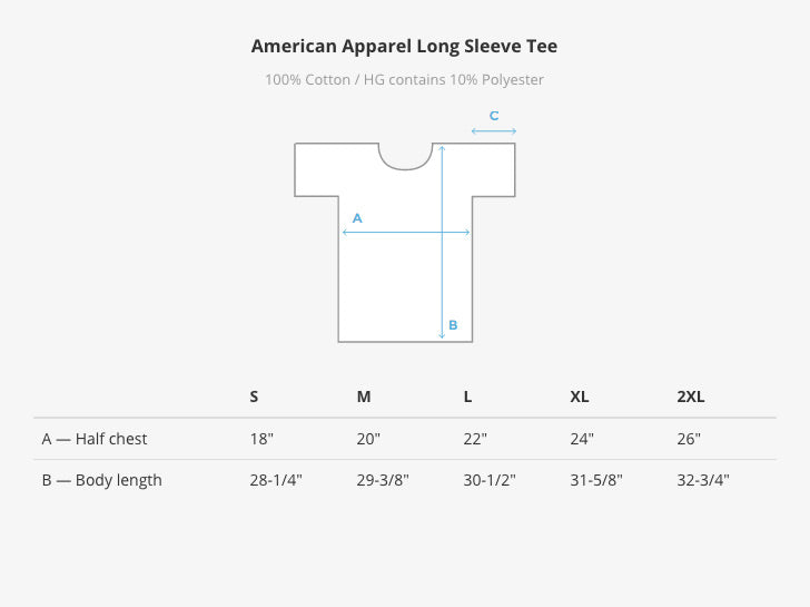American Apparel Long-Sleeve Tee Size Chart