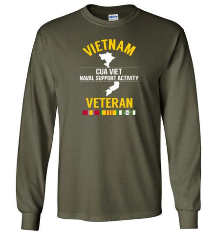 "Vietnam Veteran ""Cua Viet Naval Support Activity"" - Men's/Unisex Long-Sleeve T-Shirt-Wandering I Store"