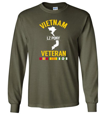 "Vietnam Veteran ""LZ Pony"" - Men's/Unisex Long-Sleeve T-Shirt-Wandering I Store"