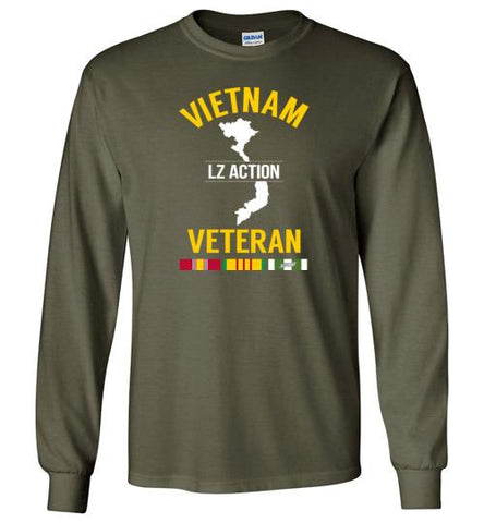 "Vietnam Veteran ""LZ Action"" - Men's/Unisex Long-Sleeve T-Shirt-Wandering I Store"