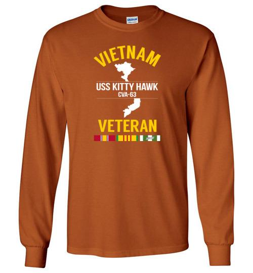 "Vietnam Veteran ""USS Kitty Hawk CVA-63"" - Men's/Unisex Long-Sleeve T-Shirt-Wandering I Store"
