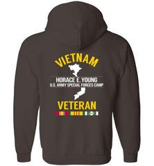 "Vietnam Veteran ""Horace E. Young U.S. Army Special Forces Camp"" - Men's/Unisex Zip-Up Hoodie-Wandering I Store"