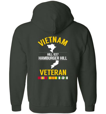 "Vietnam Veteran ""Hill 937 / Hamburger Hill"" - Men's/Unisex Zip-Up Hoodie-Wandering I Store"