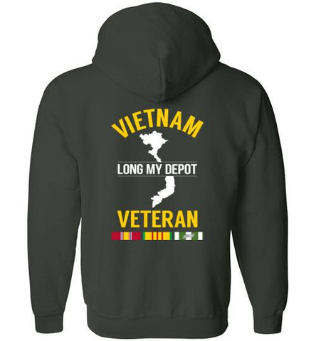 "Vietnam Veteran ""Long My Depot"" - Men's/Unisex Zip-Up Hoodie-Wandering I Store"