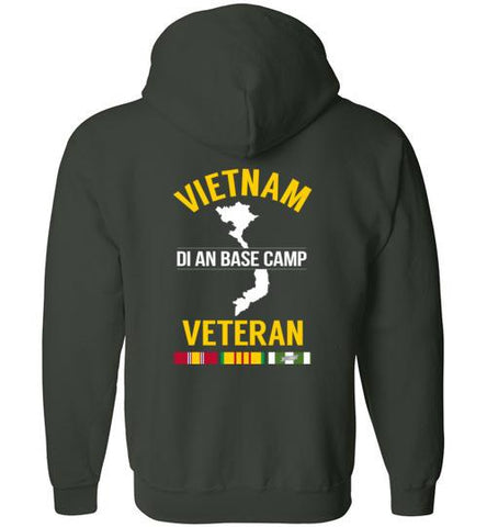 "Vietnam Veteran ""Di An Base Camp"" - Men's/Unisex Zip-Up Hoodie-Wandering I Store"