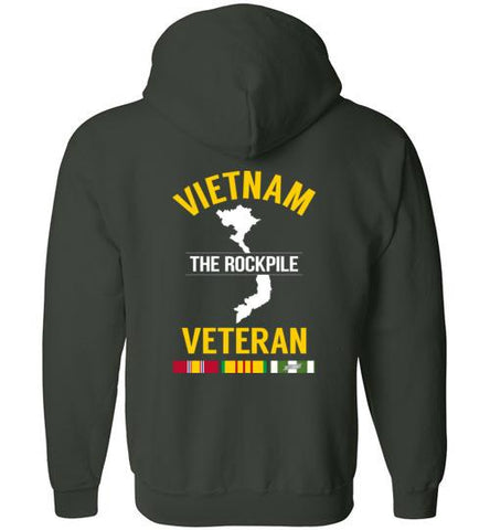 "Vietnam Veteran ""The Rockpile"" - Men's/Unisex Zip-Up Hoodie-Wandering I Store"