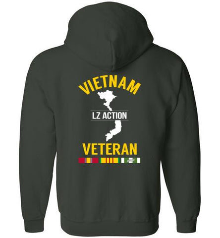 "Vietnam Veteran ""LZ Action"" - Men's/Unisex Zip-Up Hoodie-Wandering I Store"