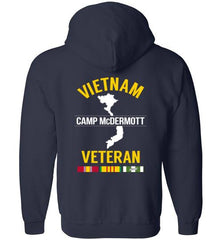 "Vietnam Veteran ""Camp McDermott"" - Men's/Unisex Zip-Up Hoodie-Wandering I Store"