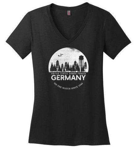 "U.S. Armed Forces Germany ""On The Watch Since 1945"" - Women's V-Neck T-Shirt"