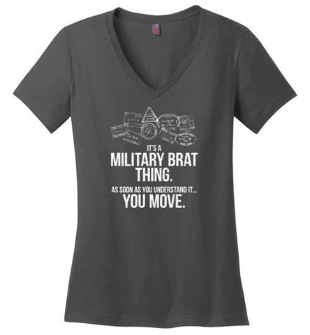 """Military Brat Thing"" - Women's V-Neck T-Shirt-Wandering I Store"