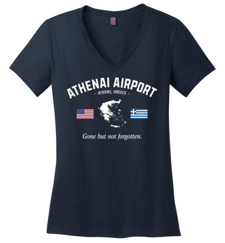 "Athenai Airport ""GBNF"" - Women's V-Neck T-Shirt-Wandering I Store"