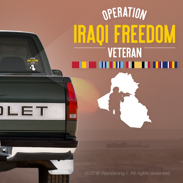"""Operation Iraqi Freedom Veteran"" - Vehicle Window Sticker-Wandering I Store"