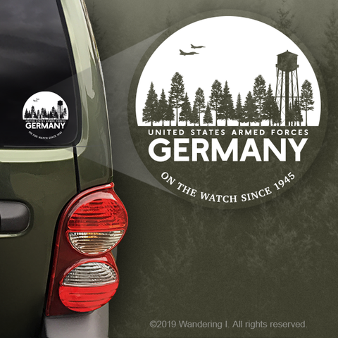 """U.S. Armed Forces Germany - On The Watch Since 1945"" - Vehicle Window Sticker"