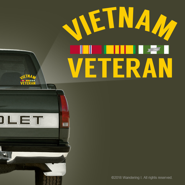 """Vietnam Veteran""- Vehicle Window Sticker-Wandering I Store"