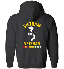 "Vietnam Veteran ""Hill 34"" - Men's/Unisex Zip-Up Hoodie-Wandering I Store"