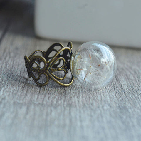 Victorian Style Dandelion Glass Globe Ring