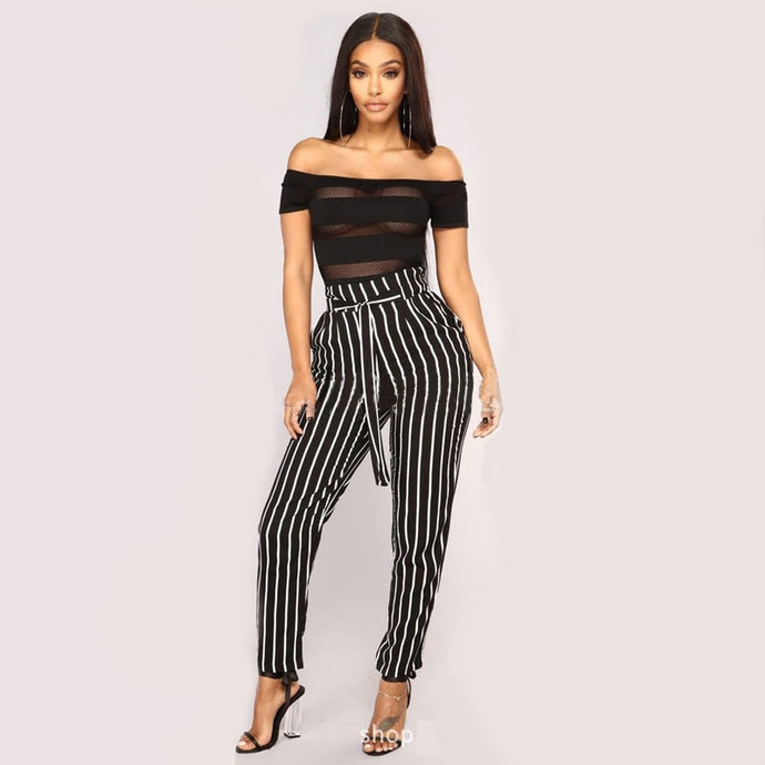 Women Casual Comfortable Fit High Waist Striped Pants