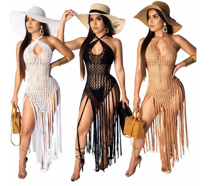 Knitted Hollow Out Backless Tassel Maxi Dresses