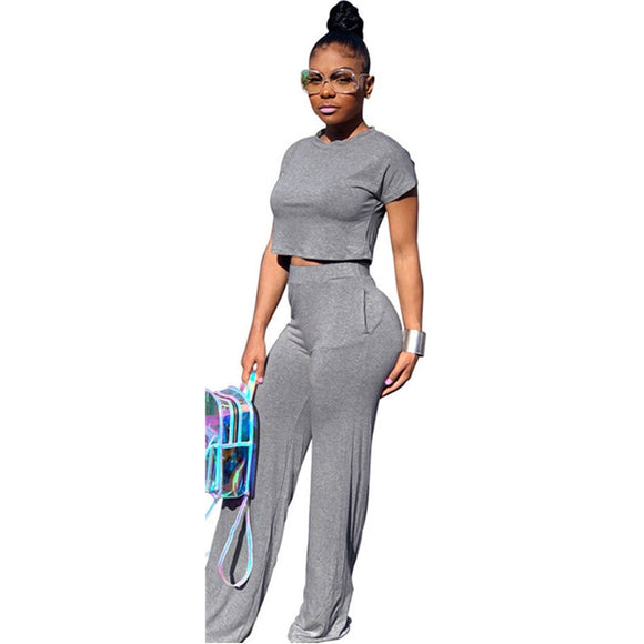 Casual Two Piece Set Crop Top and Wide Leg Pants Sexy 2 Piece Outfits for Women Clothing Set