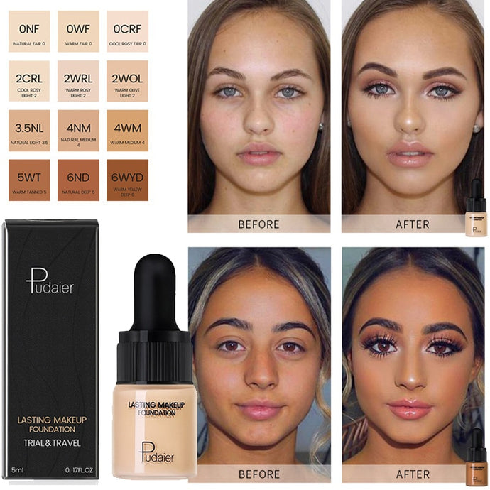 Professional Full Coverage Liquid Foundation Face Base Makeup Natural Color Concealer Whitening Lasting Primer Makeup