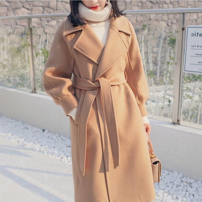 Women's Elegant Long Loose Warm Adjustable Beat Coat